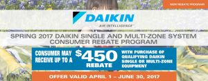 Spring 2017 Daikin Single & Multi-Zone System Consumer Rebate Program
